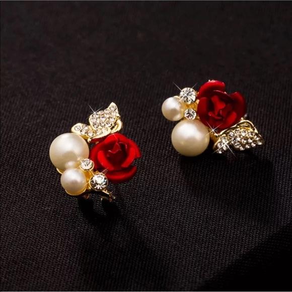 2fa88c33b Jewelry | Sparkle Red Rose Pearl Earrings | Poshmark
